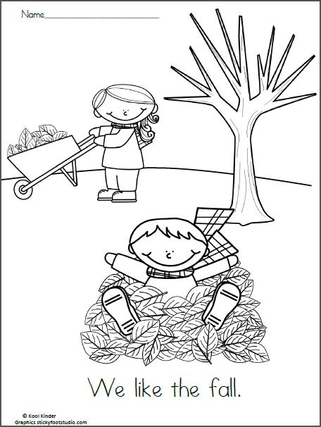 Free Fall Reading Coloring Worksheet