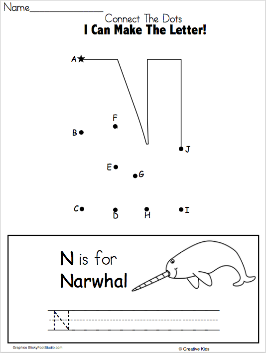 Letter N Writing Worksheet and Dot to Dot (Kindergarten and ...