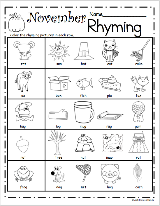 Free November Rhyming Worksheets - Madebyteachers