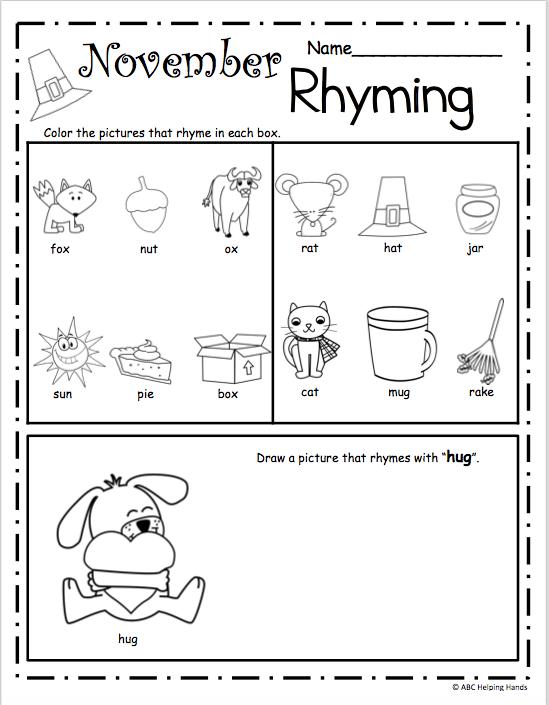 November Rhyme Worksheets - Made By Teachers