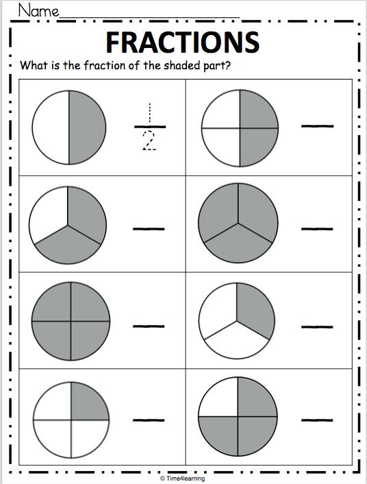 Fractions Worksheet - Write the Fraction - Madebyteachers
