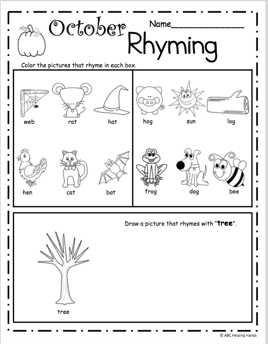 October Rhyming Worksheet for Kindergarten - Madebyteachers