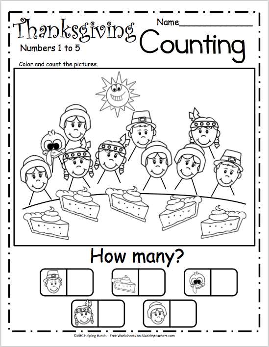 Free Counting Worksheets For Kindergarten - Thanksgiving Pie - Made By  Teachers