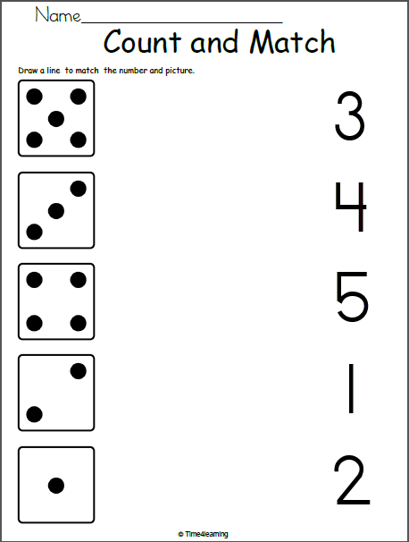 math worksheet for kindergarten match 1 to 5 madebyteachers. Black Bedroom Furniture Sets. Home Design Ideas