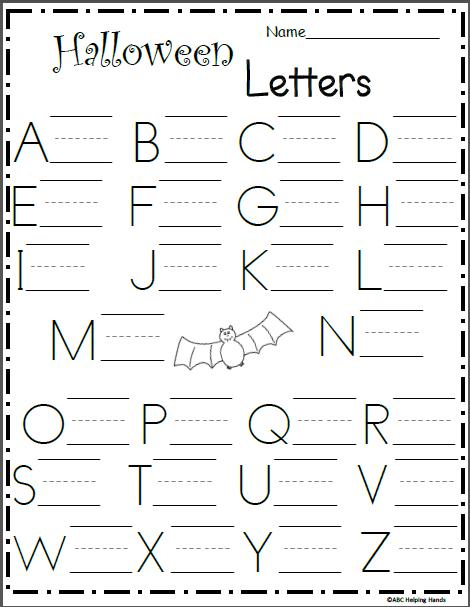Uppercase Letter Writing Worksheet - Halloween - Madebyteachers
