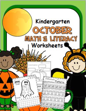 October Math and Literacy Workbook for Kindergarten