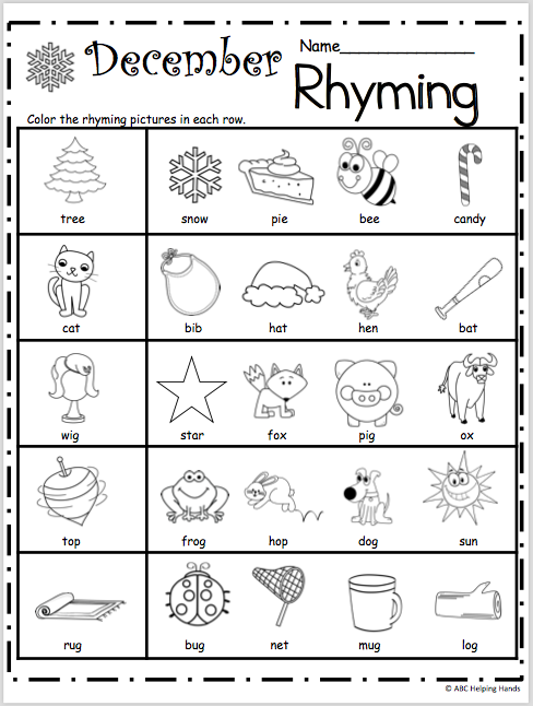 Free Kindergarten Rhyming Worksheets for December - Madebyteachers