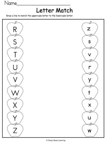 Alphabet Match Apples R to Z - Madebyteachers