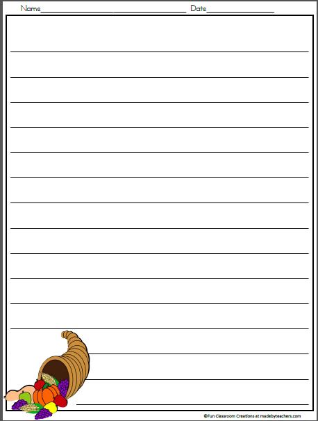 Thanksgiving Cornucopia Writing Template - Madebyteachers