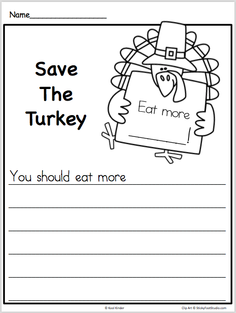 Free Thanksgiving Writing Worksheet - Printable Kindergarten and 1st