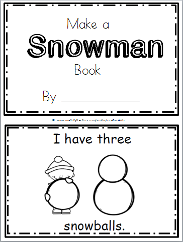 Free Snowman Printable Book Kindergarten