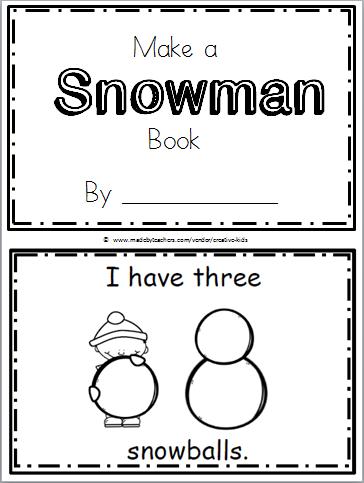 Free Snowman Printable Book Kindergarten