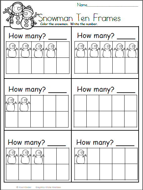 Snowman Math Worksheet - Count And Write The Number - Madebyteachers