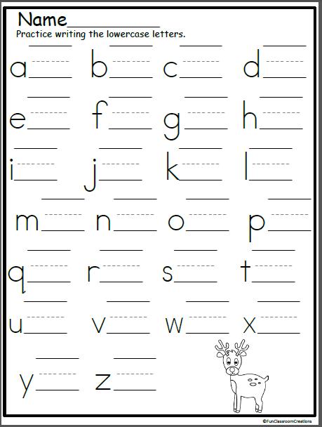 Reindeer Lowercase Letter Writing Practice - Madebyteachers