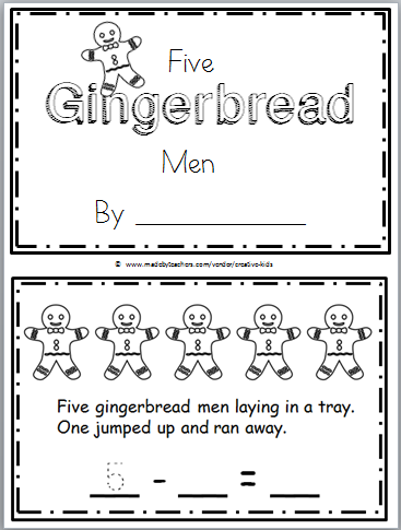 Gingerbread Man Printable Book for Kindergarten Math