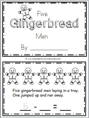 Gingerbread Man Printable Book for Kindergarten Math