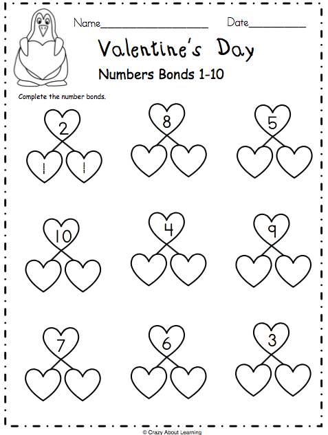 Valentines-Number-Bonds-1-10-page2 Q Worksheet For Kindergarten on double ten frame, consonant blends, fun phonics, my house, letter review, free printable 5 senses, winter math,