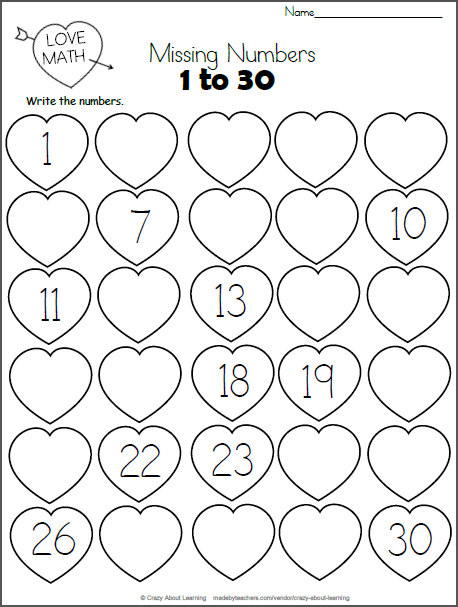 Valentine's Day Missing Numbers to 30 - Madebyteachers