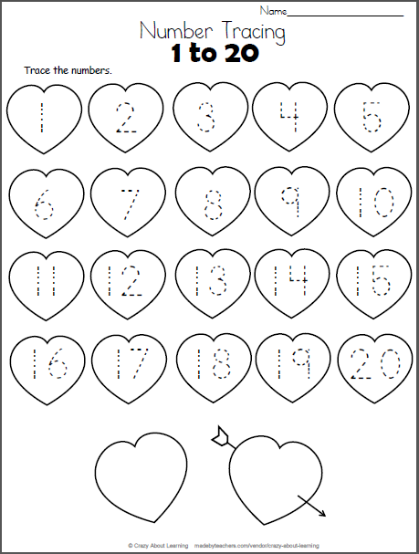 Free Number Tracing hearts