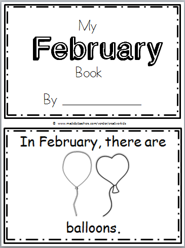 free February mini book kindergarten