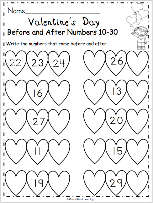 Valentine's Day Math Kindergarten