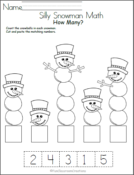 Free Math Worksheets for Kindergarten Winter