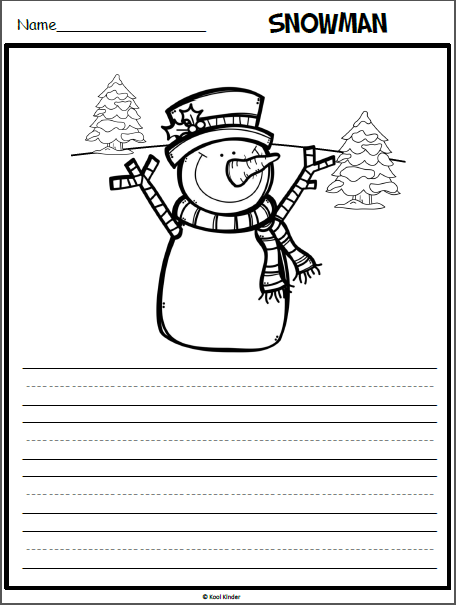 Snowman Writing Page with a Picture Prompt - Madebyteachers
