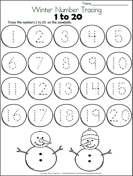 Snowball Math - Trace Numbers to 20 - Madebyteachers