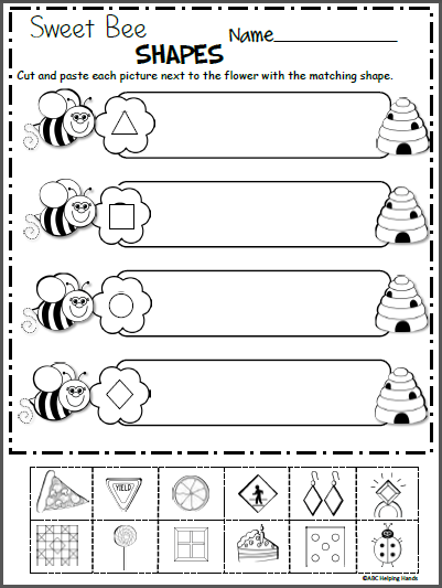 sweet bee shapes free kindergarten shapes worksheet madebyteachers. Black Bedroom Furniture Sets. Home Design Ideas
