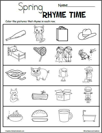 Spring Color The Rhymes Worksheets Madebyteachers