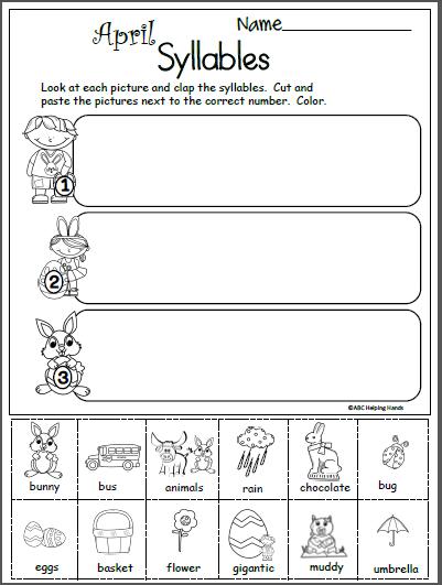 Terrific Free April Syllables Worksheet Madebyteachers