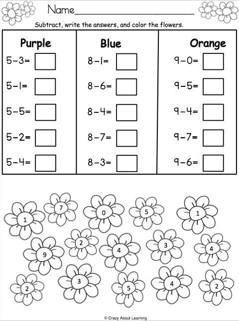 image relating to Spring Printable Worksheets identified as Spring Math Subtraction Worksheet - Madebyteachers
