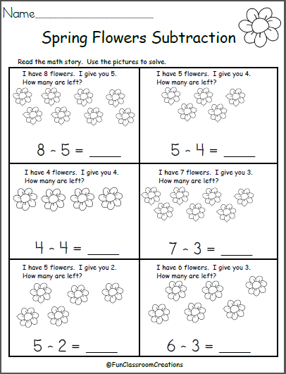 free spring subtraction math worksheet madebyteachers. Black Bedroom Furniture Sets. Home Design Ideas