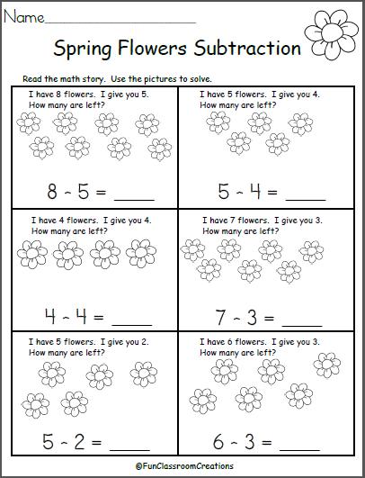 free spring subtraction math worksheet madebyteachers. Black Bedroom Furniture Sets. Home Design Ideas