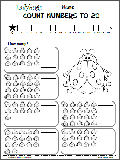 Spring Ladybug Numbers Worksheet to 20 - Madebyteachers