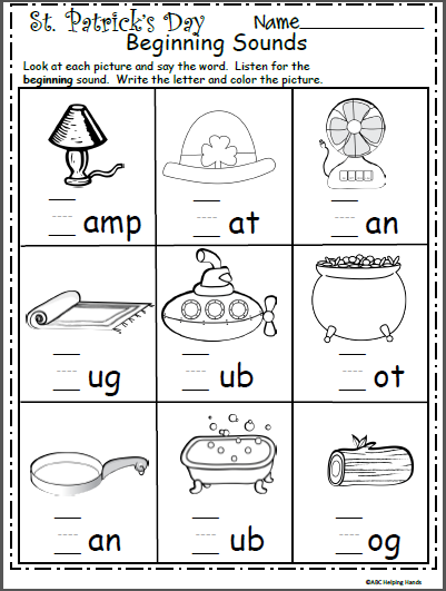 St Patrick 39 S Day Beginning Sounds Worksheet Madebyteachers