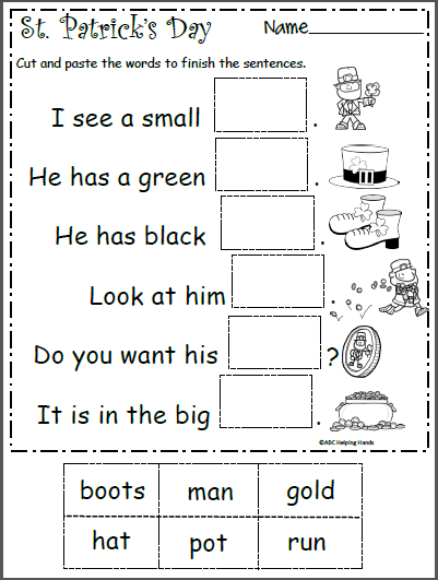 picture regarding St Patrick Day Puzzles Printable Free named St. Patricks Working day Worksheet - Conclude the Sentences