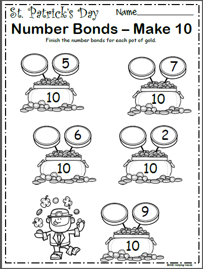 St. Patrick's Number Bonds Worksheet - Make 10 - Madebyteachers