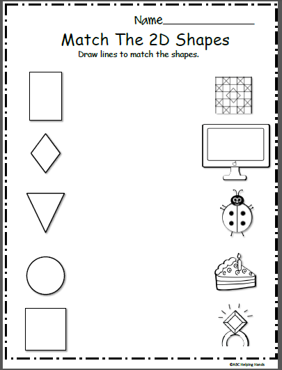free shapes math worksheet matching madebyteachers. Black Bedroom Furniture Sets. Home Design Ideas