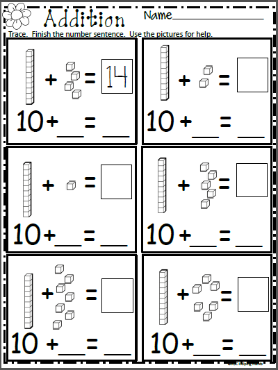 Free Math Addition Worksheet for Kindergarten - Madebyteachers