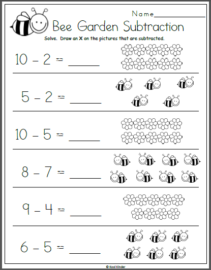 Bee Garden Subtraction Math Worksheet For Kindergarten