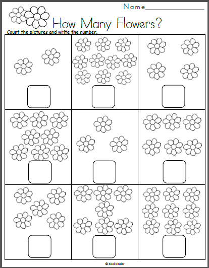 Free Spring Math Worksheet Count The Flowers