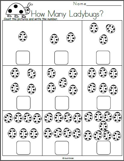 Free kindergarten math worksheet counting