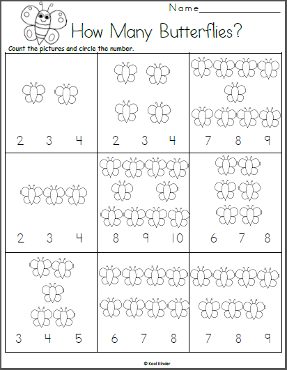 Count the Butterflies Math Worksheet - Madebyteachers