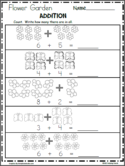 Free Spring Math Addition Worksheet Madebyteachers