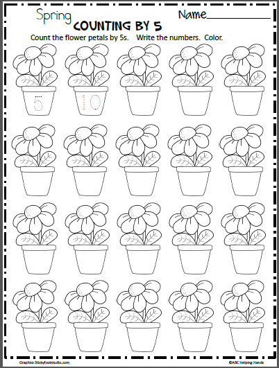 graphic relating to Printable Flower Petals called Rely Flower Petals By means of 5 - Madebyteachers