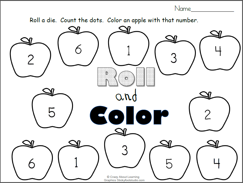 picture about Numbers Printable titled Tumble Apples Roll and Coloration Figures Printable - Madebyteachers
