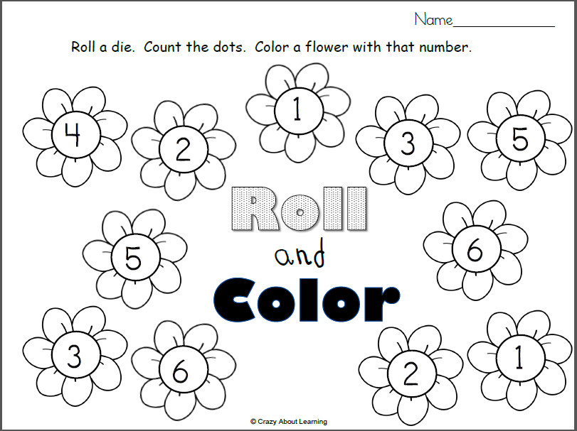 Spring Flowers Roll And Color Printable Madebyteachers