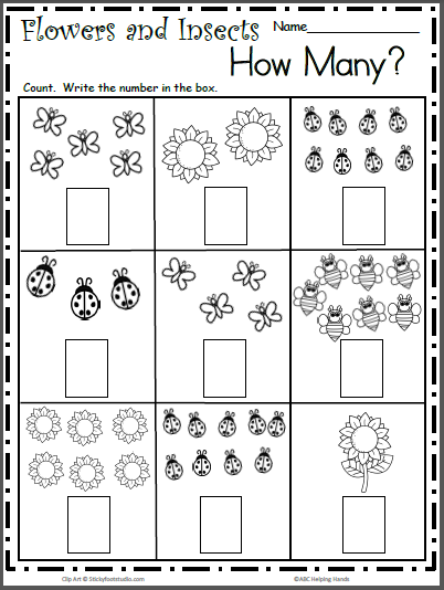 Spring Insects Free Math Worksheet for Counting to 9 - Madebyteachers