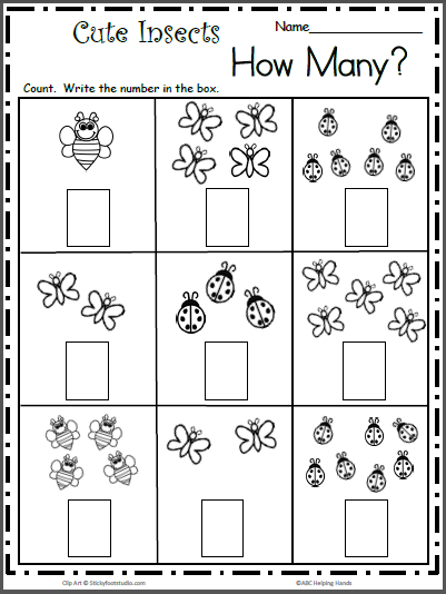 Count the Cute Insects - Free Math Worksheet for K - Madebyteachers